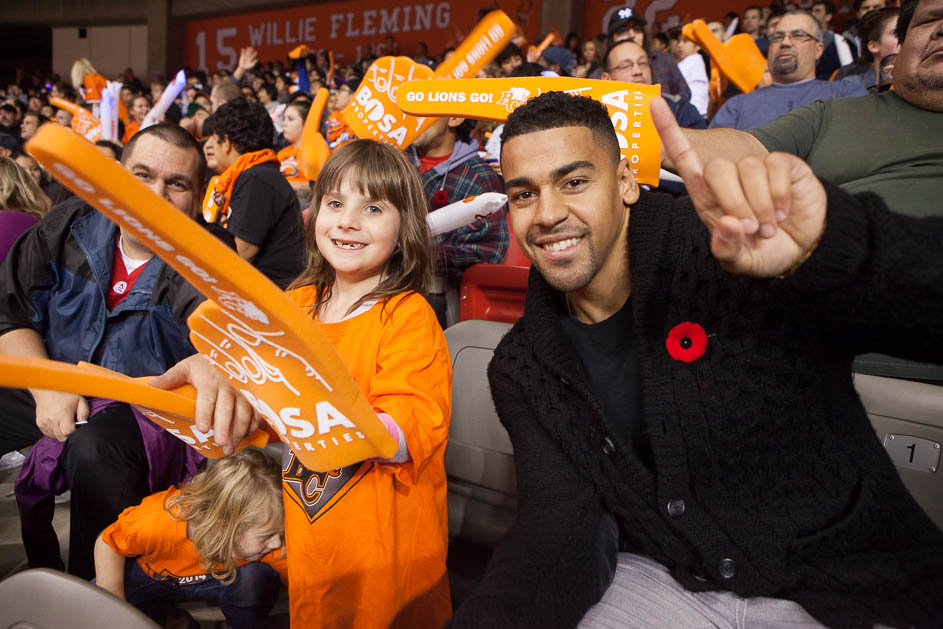 Kids Up Front at the BC Lions, Sponsored by BOSA Properties featuring Andrew Harris